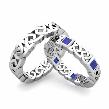 Matching Celtic Wedding Bands in Platinum Princess Cut Sapphire Eternity Ring