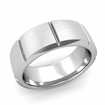 Swiss Cut Wedding Band in Platinum Mixed Brushed Finish Ring, 8mm