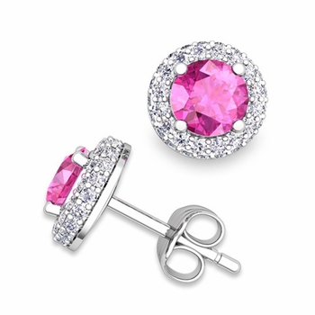 Pave Diamond and Pink Sapphire Earrings in 14k Gold Studs, 5mm