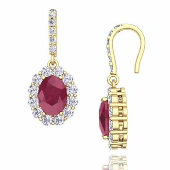 Halo Diamond and Ruby Drop Earrings in 18k Gold, 7x5mm