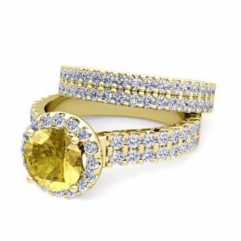 Two Row Diamond and Yellow Sapphire Engagement Ring Bridal Set in 18k Gold, 7mm
