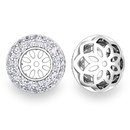 Pave Set Diamond Earring Jackets In 14k Gold 6mm