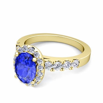 Brilliant Pave Set Diamond and Ceylon Sapphire Halo Engagement Ring in 18k Gold, 7x5mm