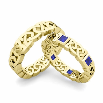 Matching Celtic Wedding Bands in 18k Gold Princess Cut Sapphire Eternity Ring