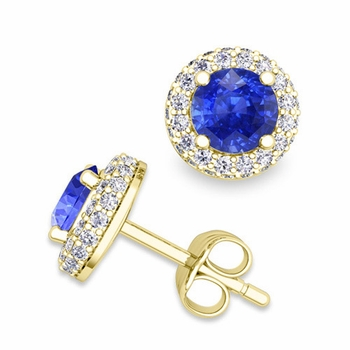 Pave Diamond and Ceylon Sapphire Earrings in 18k Gold Studs, 5mm