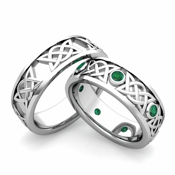 Matching Celtic Wedding Bands in Platinum Emerald Comfort Fit Ring