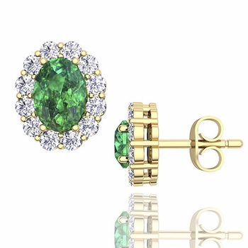 Oval Emerald and Halo Diamond Earrings in 18k Gold, 7x5mm Studs