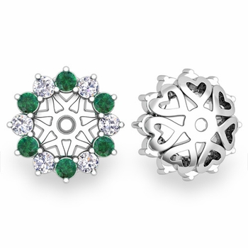 Emerald and Halo Diamond Earring Jackets in 14k Gold, 5mm