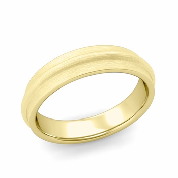 Ridged Wedding Band in 18k Gold Brushed Finish Comfort Fit Band, 5mm