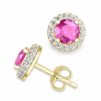 Pave Diamond and Pink Sapphire Earrings in 18k Gold Studs, 5mm