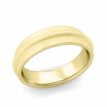 Ridged Wedding Band in 18k Gold Brushed Finish Comfort Fit Band, 6mm