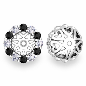 Halo Black and White Diamond Earring Jackets in 14k Gold, 6mm