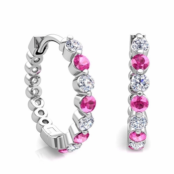 Floating Pink Sapphire and Diamond Hoop Earrings in 14k Gold Hoops