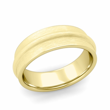 Ridged Wedding Band in 18k Gold Brushed Finish Comfort Fit Band, 7mm