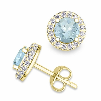 Pave Diamond and Aquamarine Earrings in 18k Gold Studs, 5mm
