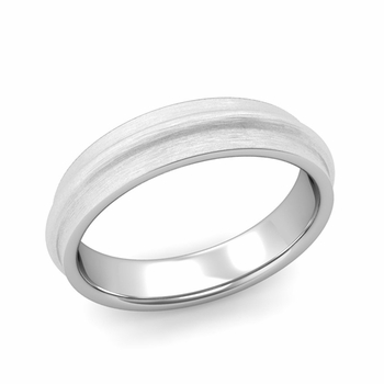 Ridged Wedding Band in Platinum Brushed Finish Comfort Fit Band, 5mm