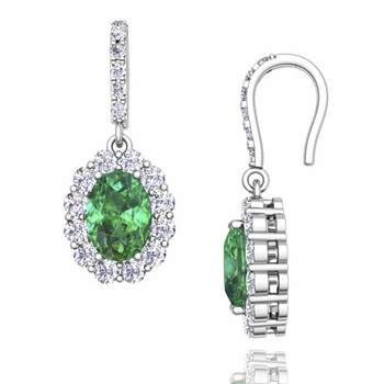 Halo Diamond and Emerald Drop Earrings in 14k Gold, 7x5mm
