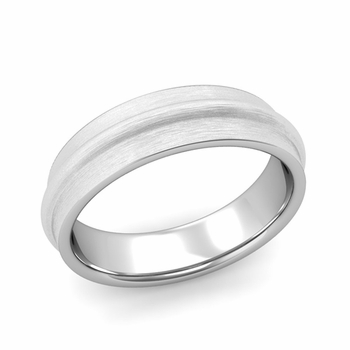 Ridged Wedding Band in Platinum Brushed Finish Comfort Fit Band, 6mm