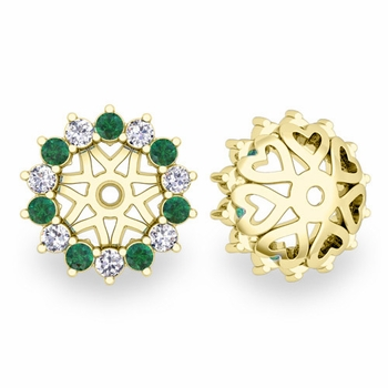 Emerald and Halo Diamond Earring Jackets in 18k Gold, 6mm