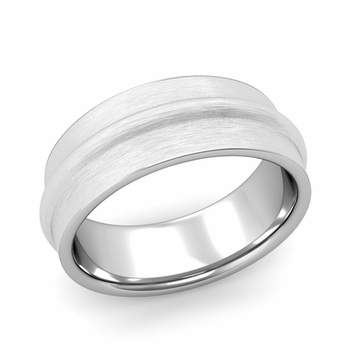 Ridged Wedding Band in Platinum Brushed Finish Comfort Fit Band, 8mm