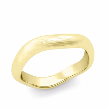 Curved Brushed Finish Wedding Ring in 18k Gold Comfort Fit Band, 4mm