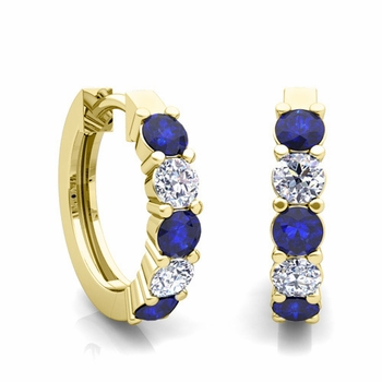 5 Stone Sapphire and Diamond Hoop Earrings in 18k Gold Hoops