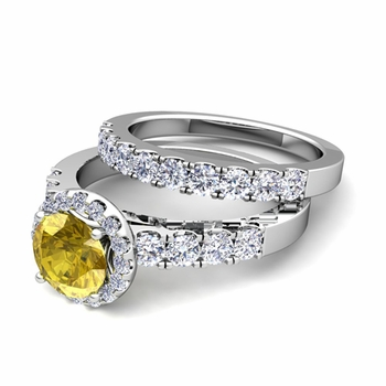 Halo Bridal Set: Pave Diamond and Yellow Sapphire Wedding Ring Set in Platinum, 7mm