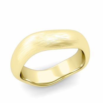 Curved Brushed Finish Wedding Ring in 18k Gold Comfort Fit Band, 6mm