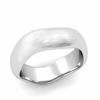 Curved Brushed Finish Wedding Ring in 14k Gold Comfort Fit Band, 7mm