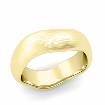 Curved Brushed Finish Wedding Ring in 18k Gold Comfort Fit Band, 7mm