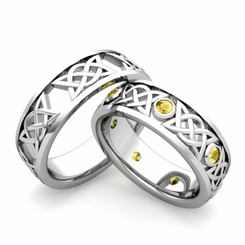 Matching Celtic Wedding Bands in Platinum Yellow Sapphire Comfort Fit Ring
