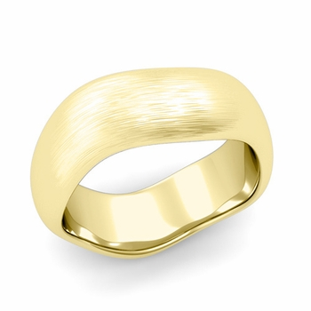 Curved Brushed Finish Wedding Ring in 18k Gold Comfort Fit Band, 8mm