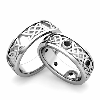 Matching Celtic Wedding Bands in Platinum Black Diamond Comfort Fit Ring