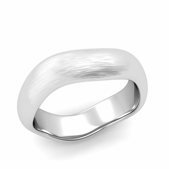 Curved Brushed Finish Wedding Ring in Platinum Comfort Fit Band, 6mm