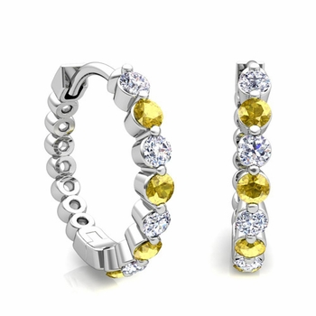 Floating Yellow Sapphire and Diamond Hoop Earrings in 14k Gold Hoops