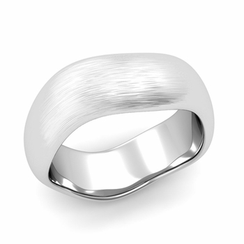 Curved Brushed Finish Wedding Ring in Platinum Comfort Fit Band, 8mm