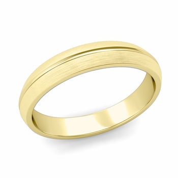 Carved Comfort Fit Wedding Ring in 18K Gold Matte Brushed Band, 4mm