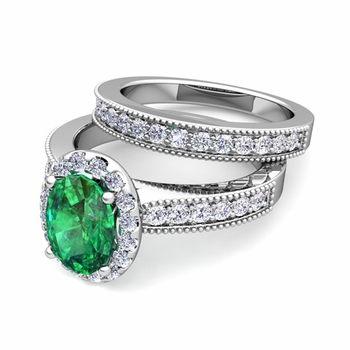 Halo Bridal Set: Milgrain Diamond and Emerald Engagement Wedding Ring Set in 14k Gold, 7x5mm