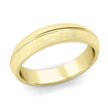 Carved Comfort Fit Wedding Ring in 18K Gold Matte Brushed Band, 5mm