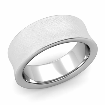 Contour Wedding Band in Platinum Mixed Brushed Comfort Fit Ring, 8mm