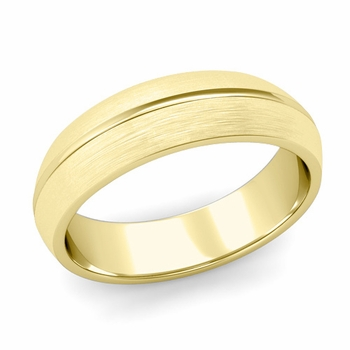 Carved Comfort Fit Wedding Ring in 18K Gold Matte Brushed Band, 6mm