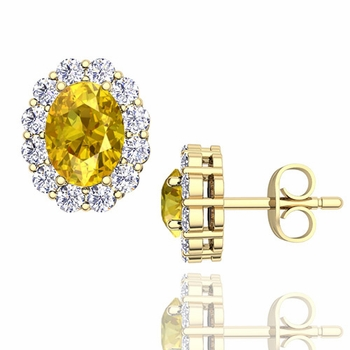 Oval Yellow Sapphire and Halo Diamond Earrings in 18k Gold, 7x5mm Studs