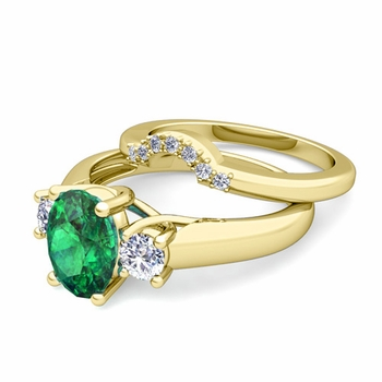 Classic Diamond and Emerald Three Stone Ring Bridal Set in 18k Gold, 9x7mm