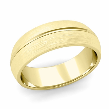 Carved Comfort Fit Wedding Ring in 18K Gold Matte Brushed Band, 7mm