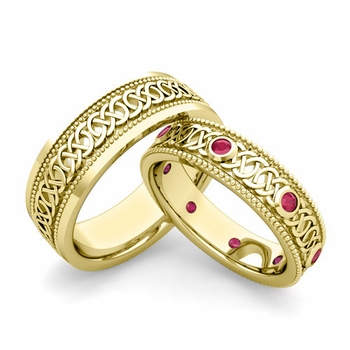 Matching Celtic Wedding Bands in 18k Gold Milgrain Ruby Ring