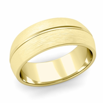 Carved Comfort Fit Wedding Ring in 18K Gold Matte Brushed Band, 8mm