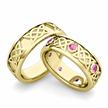 Matching Celtic Wedding Bands in 18k Gold Pink Sapphire Comfort Fit Ring