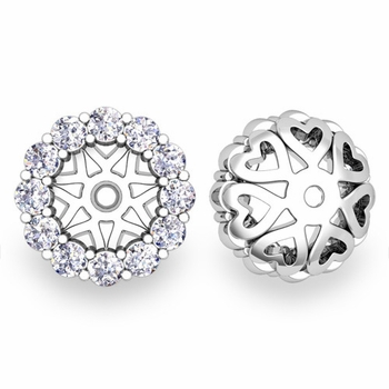 Halo Diamond Earring Jackets in 14k White or Yellow Gold, 6mm