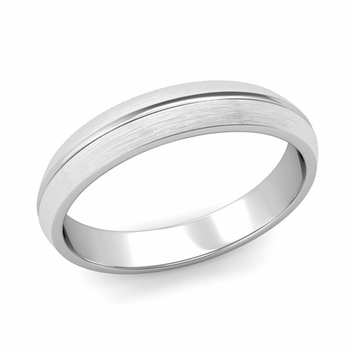 Carved Comfort Fit Wedding Ring in Platinum Matte Brushed Band, 4mm