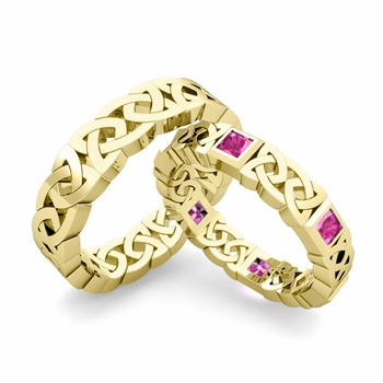 Matching Celtic Wedding Bands in 18k Gold Princess Cut Pink Sapphire Eternity Ring